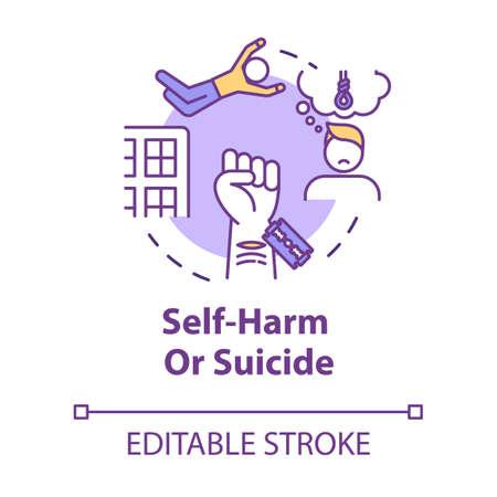 Self-harm, suicide, injury psychological factor concept icon. Depression, mental problem, disease idea thin line illustration. Vector isolated outline RGB color drawing. Editable stroke Векторная Иллюстрация