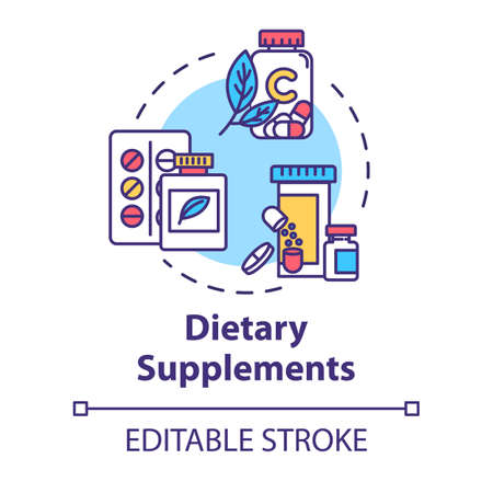 Dietary supplements concept icon. Alternative medicine idea thin line illustration. Concentrated nutrients and vitamins consumption. Vector isolated outline RGB color drawing. Editable stroke