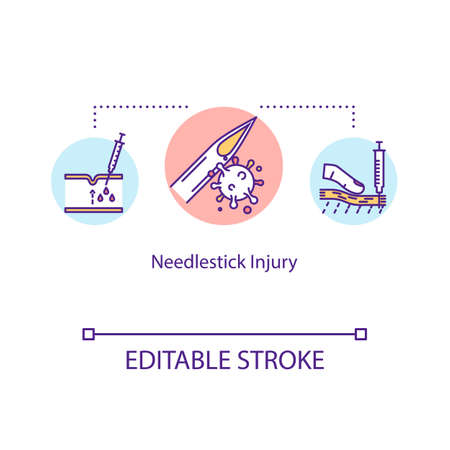Needlestick injury, skin trauma concept icon. Hypodermic needle effect, mucous membrane contamination idea thin line illustration. Vector isolated outline RGB color drawing. Editable stroke