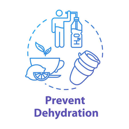 Prevent dehydration concept icon. Heatlhy drink. Natural treatment for flu. Moisturizing and skincare. Stay hydrated idea thin line illustration. Vector isolated outline RGB color drawing
