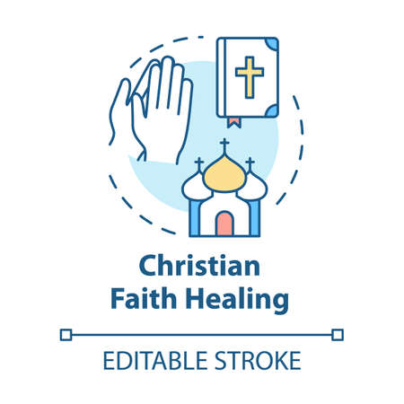 Christian faith healing concept icon. Alternative medicine, religion idea thin line illustration. Healing by divine intervention. Vector isolated outline RGB color drawing. Editable stroke