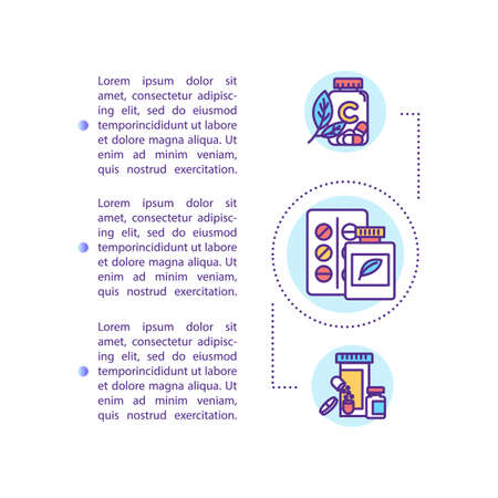 Medicaments concept icon with text. Pills and capsules. Pharmaceutical drugs. Healing substance. PPT page vector template. Brochure, magazine, booklet design element with linear illustrations Ilustracja