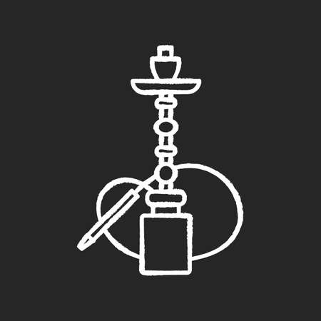 Hookah chalk white icon on black background. Sheesha house. Shisha bar for leisure. Nargile lounge. Odor from pipe. Scent of vaporizing. Smoking area. Isolated vector chalkboard illustration