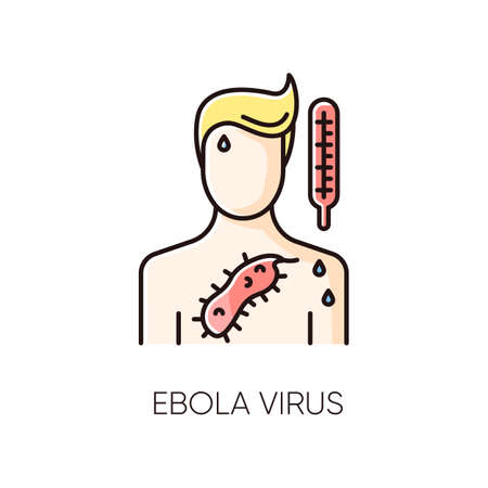 Ebola virus RGB color icon. Dangerous viral disease, deadly infectious illness, fatal sickness. Medical diagnosis, healthcare and medicine. Person with EVD symptoms. Isolated vector illustration Ilustrace