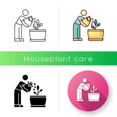 Fertilizing seedling icon. Feeding sapling. Houseplant care. Plant growing, planting. Indoor gardening. Growth supplements, amendments. Linear black and RGB color styles. Isolated vector illustrations
