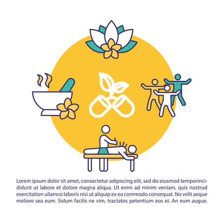 Traditional oriental medicine concept icon with text. Body and mind balance. PPT page vector template. Brochure, magazine, booklet design element with linear illustrations Ilustracja