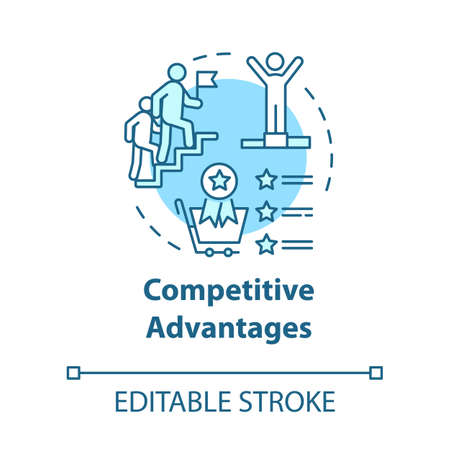 Competitive advantages concept icon. Corporate leadership. Challenge victory. Business strategy idea thin line illustration. Vector isolated outline RGB color drawing. Editable stroke Ilustracje wektorowe