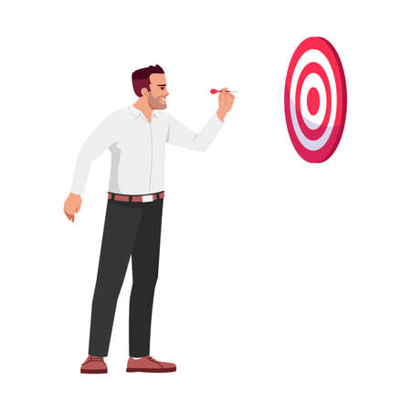 Businessman setting goals semi flat RGB color vector illustration. Office worker hitting dart board isolated cartoon character on white background. Professional aims and targets concept Иллюстрация