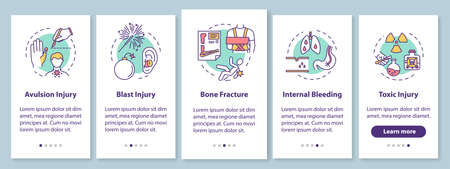 Injury types onboarding mobile app page screen with concepts. Avulsion and blast, fracture and intoxication walkthrough 5 steps graphic instructions. UI vector template with RGB color illustrations