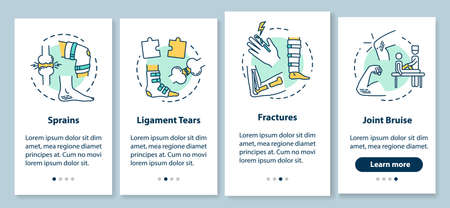 Trauma types onboarding mobile app page screen with concepts. Sprains, ligament tears, fractures, joint bruise walkthrough 4 steps graphic instructions. UI vector template with RGB color illustrations Stock fotó - 140366702