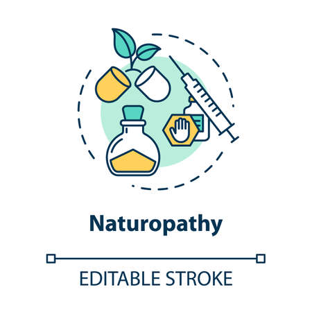 Naturopathy concept icon. Alternative and conventional medicine idea thin line illustration. Treatment with natural, organic remedies. Vector isolated outline RGB color drawing. Editable stroke