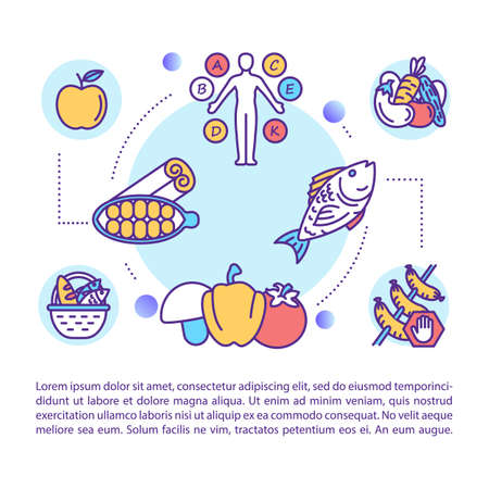 Healthy nutrition concept icon with text. Balanced diet. Eating habits. Vegetarianism. PPT page vector template. Brochure, magazine, booklet design element with linear illustrations