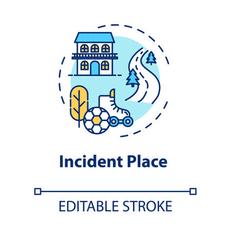 Incident place, injury site concept icon. Domestic and sports trauma factors, traffic accidents location thin line illustration. Vector isolated outline RGB color drawing. Editable stroke