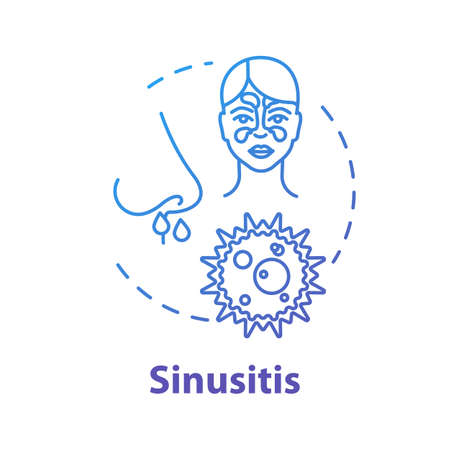 Sinusitis concept icon. Suffer from allergy. Paranasal inflammation. Respiratory illness. Nasal problem. Flu infection idea thin line illustration. Vector isolated outline RGB color drawing