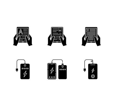 Portable electronic devices black glyph icons set on white space. Power bank. Portable battery. Charging gadget. Hands holding e-readers, tablets. Silhouette symbols. Vector isolated illustration 矢量图像