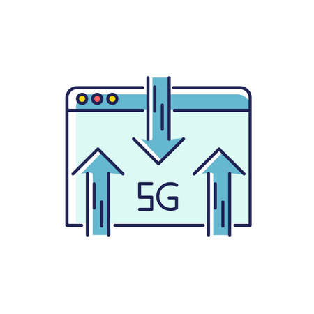 5G web browser RGB color icon. Internet browsing. Wireless technology. Fast connection. Data transmission, information exchange. Mobile cellular network. Isolated vector illustration