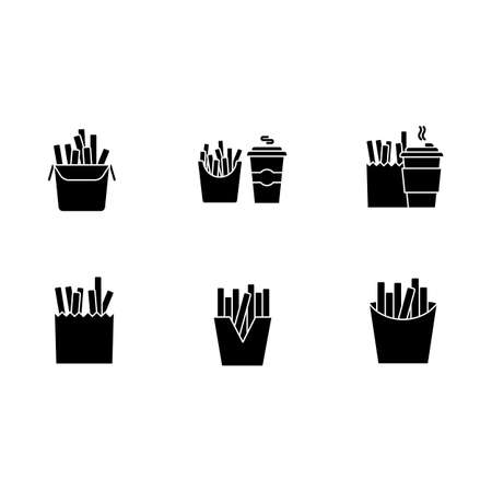 French fries black glyph icons set on white space. Fast food cafe menu. Fried potato in takeout paper packages. Take away meal and coffee to go. Silhouette symbols. Vector isolated illustration