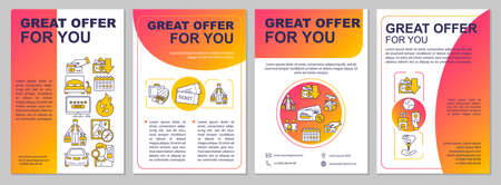 Special deal brochure template. Tickets discount. Tours sale. Flyer, booklet, leaflet print, cover design with linear icons. Vector layouts for magazines, annual reports, advertising posters