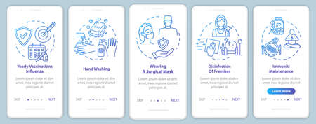 Immunity maintenance onboarding mobile app page screen with concepts. Flu protection. Injection shot. Medicine walkthrough 5 steps graphic instructions. UI vector template with RGB color illustrations