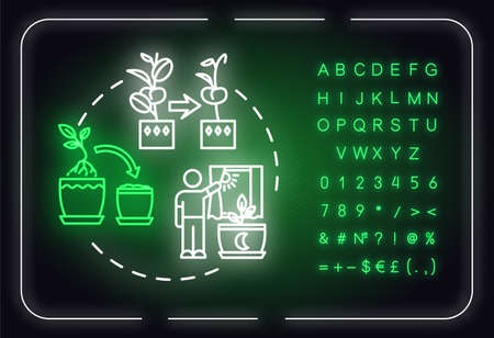 Dont move plants neon light concept icon. Houseplants caring. Floriculture tip. Flowers acclimatization idea. Outer glowing sign with alphabet, numbers and symbols. Vector isolated RGB color illustration