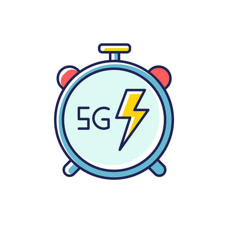 5G stopwatch RGB color icon. High performance. Low latency connection. Cellular network. Quick data transmission. Wireless technology. Isolated vector illustration