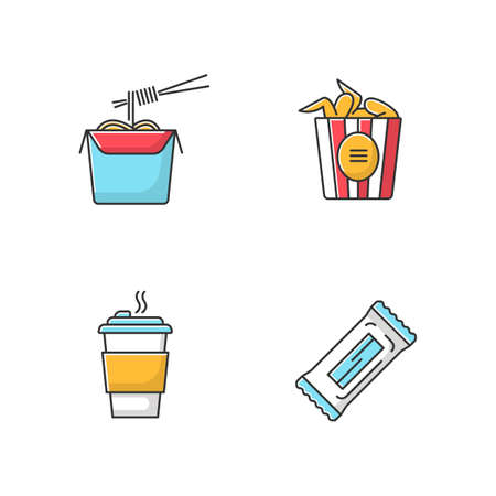Takeaway food RGB color icons set. Bucket of chicken wings, chinese noodles, coffee to go and protein snack, chocolate bar. Take away fast food meal menu. Isolated vector illustrations