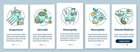 Traditional alternative medicine onboarding mobile app page screen with concepts. Complementary therapy walkthrough five steps graphic instructions. UI vector template with RGB color illustrations