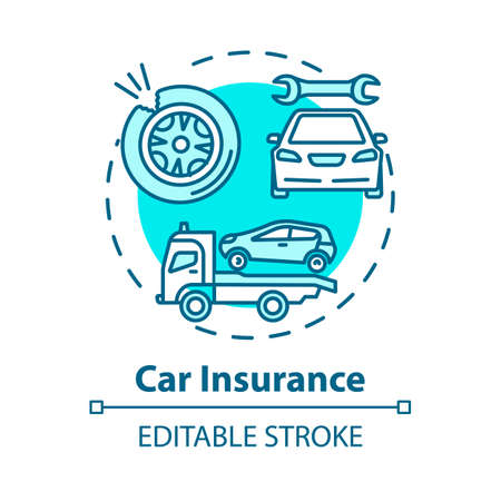 Car insurance concept icon. Incident recovery. Collision damage. Accident coverage. Personal property fix idea thin line illustration. Vector isolated outline RGB color drawing. Editable stroke
