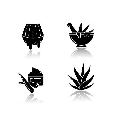 Aloe vera drop shadow black glyph icons set. Juice from cut succulent. Liquid from sliced cactus leaf. Mortar with pestle for botanical ingredients. Isolated vector illustrations on white space Ilustrace