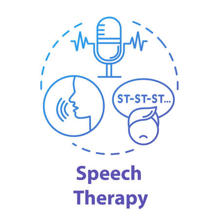 Speech therapy concept icon. Asperger disorder. Exercise for stuttering. Psychological aid for autism. Pediatric idea thin line illustration. Vector isolated outline RGB color drawing. Editable stroke Ilustração