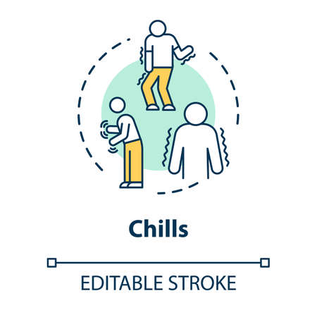 Chills concept icon. Influenza infection. Flu symptom. Tremor and tremble. Body ache. Unwell person. Cold idea thin line illustration. Vector isolated outline RGB color drawing. Editable stroke