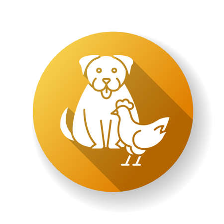 Interspecies friendship yellow flat design long shadow glyph icon. Emotional bond between domestic animals, friendly relationship. Dog and chicken getting along Silhouette RGB color illustration
