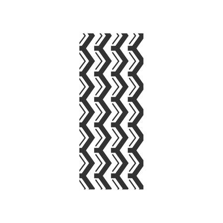 Track marks black glyph icon. Detailed automobile street tyre traces. Zigzag-shaped wheel print with thick grooves. Vehicle tire trail. Silhouette symbol on white space. Vector isolated illustration