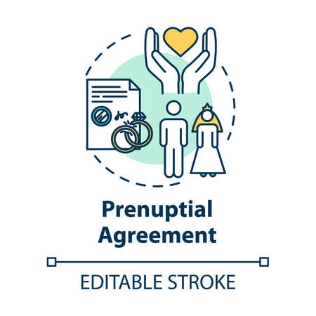 Prenuptial agreement concept icon. Partner commitment. Contract for married couple. Notary service idea thin line illustration. Vector isolated outline RGB color drawing. Editable stroke