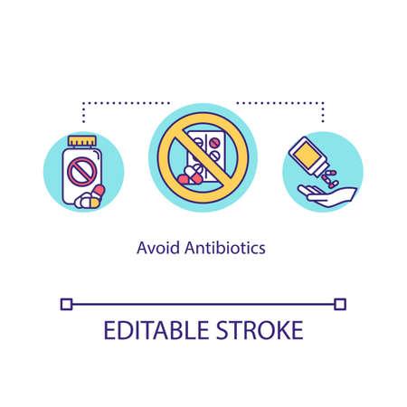 Avoid antibiotics concept icon. Not effective influenza treatment. Antibacterial remedy. Pharmacology idea thin line illustration. Vector isolated outline RGB color drawing. Editable stroke Vektoros illusztráció