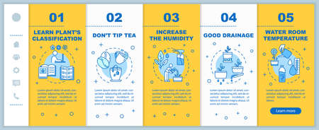 Indoor plants concern onboarding vector template. Appropriate room temp. Home gardening tips. Responsive mobile website with icons. Webpage walkthrough step screens. RGB color concept Иллюстрация