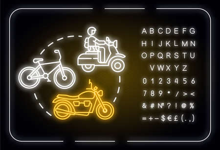 Bike neon light concept icon. Cheap transportation, affordable travel means, road trip idea. Outer glowing sign with alphabet, numbers and symbols. Vector isolated RGB color illustration