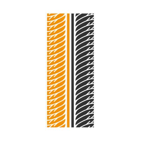 Tire print black and yellow RGB color icon. Detailed automobile, motorcycle tyre marks. Symmetric car wheel trace with thick grooves. Vehicle tire trail. Isolated vector illustration on white