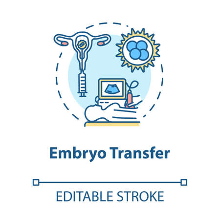 Embryo transfer concept icon. Ultrasound test. Pregnancy aid. Infertility treatment. Reproductive technology idea thin line illustration. Vector isolated outline RGB color drawing. Editable stroke