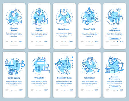 Feminism movement onboarding mobile app page screen with concepts set. Gender stereotypes breaking walkthrough 5 steps graphic instructions. UI vector template with RGB color illustrations