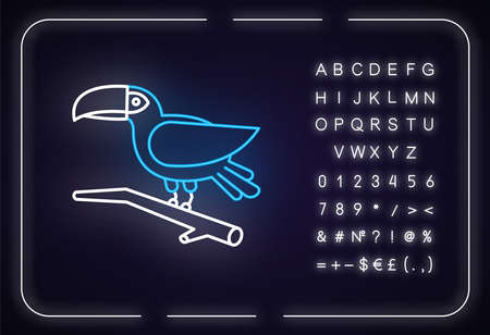 Toucan neon light icon. Exotic bird. Brazilian fauna. Wildlife. Tropical birdie. Ornithology. Outer glowing effect. Sign with alphabet, numbers and symbols. Vector isolated RGB color illustration