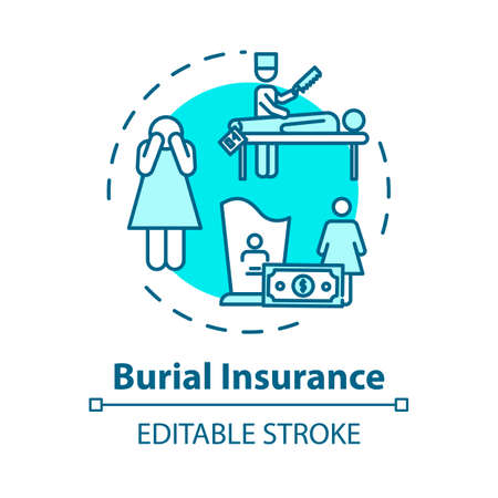 Burial insurance concept icon. Family member loss. Permanent life coverage policy. Funeral expense idea thin line illustration. Vector isolated outline RGB color drawing. Editable stroke