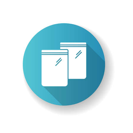 Zip bag blue flat design long shadow glyph icon. Empty plastic transparent package. Food ziplock packet, pvc sachet. Snack waterproof pouch. Silhouette RGB color illustration