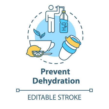 Prevent dehydration concept icon. Natural treatment for flu. Moisturizing and skincare. Stay hydrated idea thin line illustration. Vector isolated outline RGB color drawing. Editable stroke