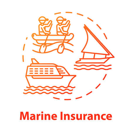 Marine insurance concept icon. Travel support. Nautical vehicle protection. Ship protection. Logistic business. Cargo safety idea thin line illustration. Vector isolated outline RGB color drawing