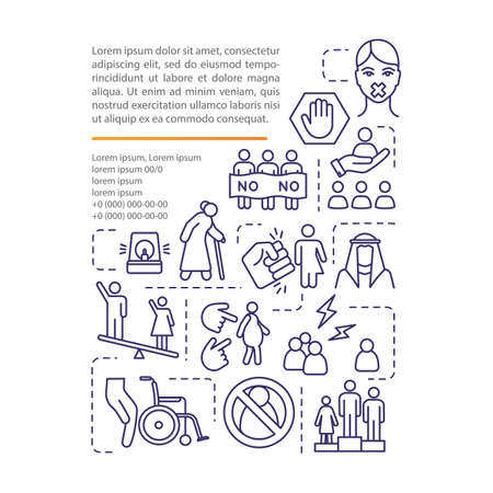 Women discrimination concept icon with text. Sexism, gender pay gap, harassment PPT page vector template. Brochure, magazine, booklet design element with linear illustrations Vecteurs