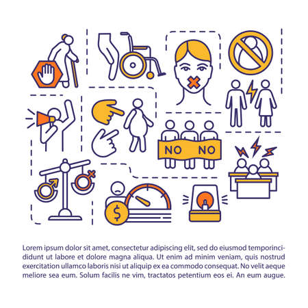 Hatred of women concept icon with text. Gender discrimination, misogyny, male supremacy ideology PPT page vector template. Brochure, magazine, booklet design element with linear illustrations