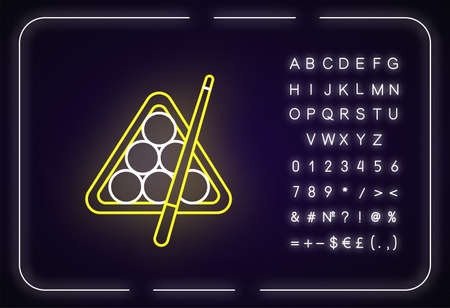 Billiards neon light icon. Outer glowing effect. Sign with alphabet, numbers and symbols. Cuesports game, pub entertainment, leisure activity. Cue sport. Vector isolated RGB color illustration