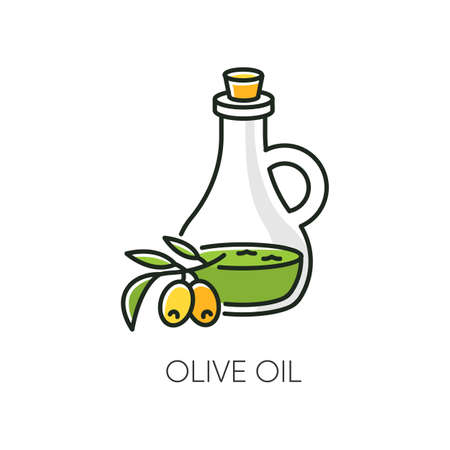 Olive oil RGB color icon. Vegan component. Exfoliating and moisturizing effect for skincare. Traditional food seasoning. Extra virgin oil. Cosmetic ingredient. Isolated vector illustration