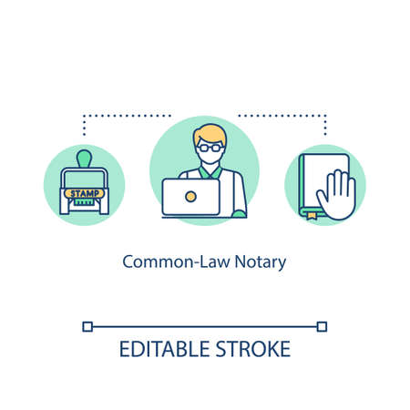 Common-law notary concept icon. Barrister assistance. Legal aid. Precedent help. Advocate support idea thin line illustration. Vector isolated outline RGB color drawing. Editable stroke